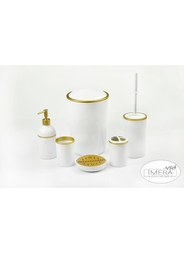 Akayev İmera 6 Parça Akrilik Beyaz Altın Banyo Seti Beyaz